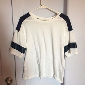 White Top w/ Navy on the Shoulders and Sleeves